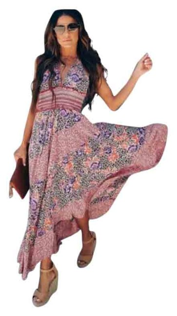 Free People Multicolor Gabriella Halter Neck Long Casual Maxi Dress Size 4 (S) Free People Multicolor Gabriella Halter Neck Long Casual Maxi Dress Size 4 (S) Image 1