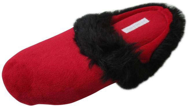 Item - Red and Black Soft Brush Fabric Fluffy Fringe Trim Slippers Flats Size US 9.5 Regular (M, B)