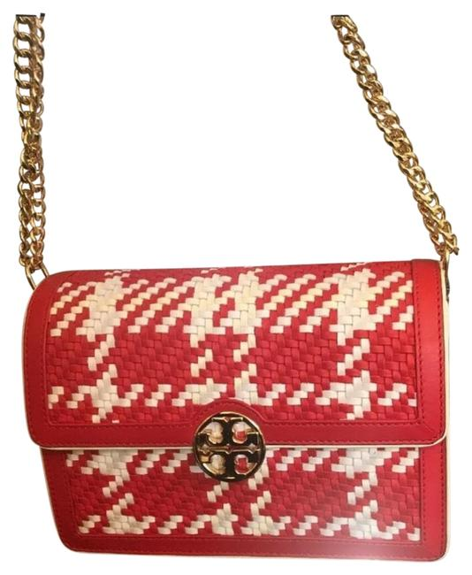 Item - Red and Off White Leather Cross Body Bag