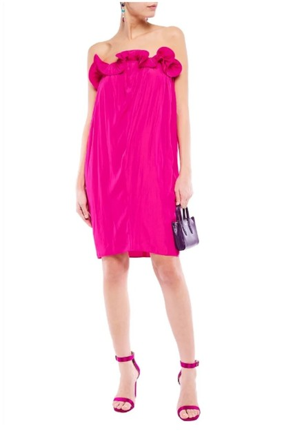 Item - Pink Runway Strapless Ruffle-trimmed Gathered Cady Mid-length Cocktail Dress Size 8 (M)