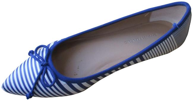 Item - Blue and White Striped Pointed Toe Slip-on Flats Size US 7 Regular (M, B)
