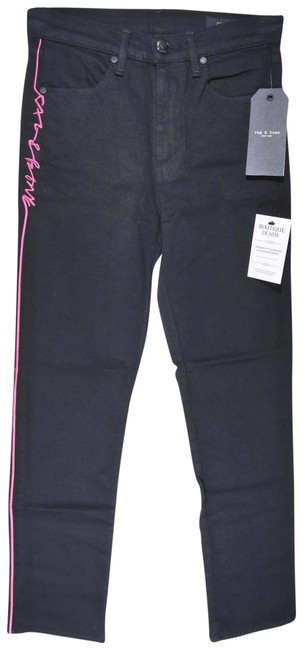 Item - Black Dark Rinse High Waist Cigarette Ankle In with Pink Logo Stripe Skinny Jeans Size 24 (0, XS)