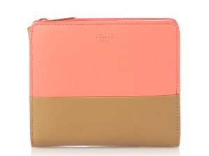 Item - Pink And Brown Bi-color Leather Compact Wallet