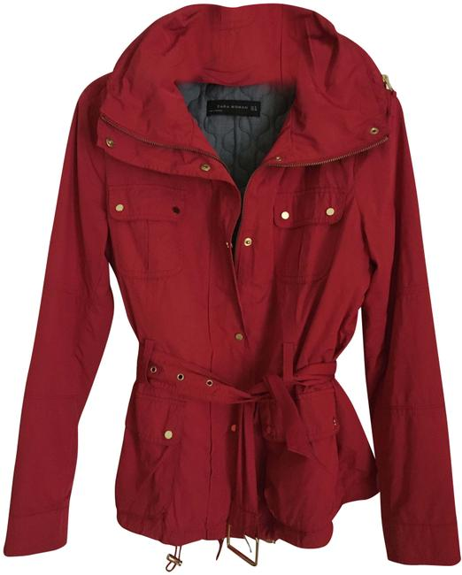 Item - Red W Short Trench Coat W/ Removable Liner Jacket Size 8 (M)