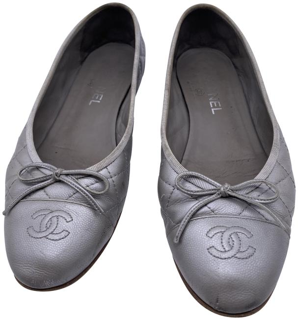 Item - Silver Quilted Leather Cap Toe Ballerina Flats Size EU 40.5 (Approx. US 10.5) Regular (M, B)