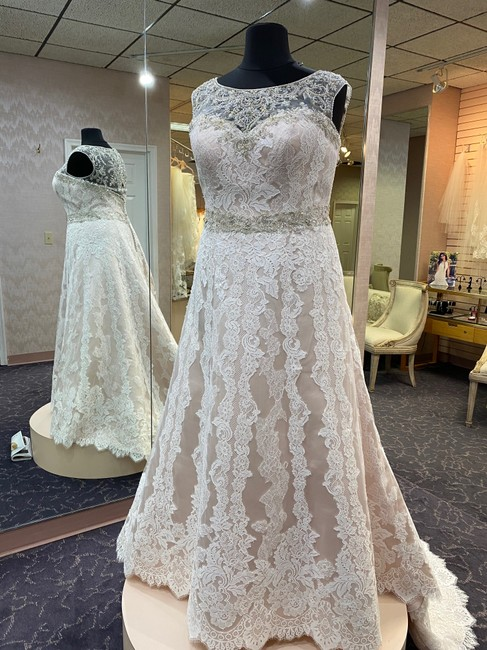 Item - Silver Blush Ivory Silver Beaded Lace On Tulle Satin Lilac 2230 Formal Wedding Dress Size 20 (Plus 1x)