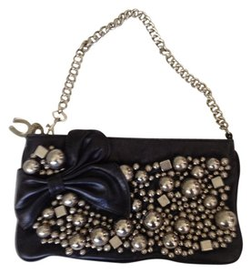 Betsey Johnson Nyc Greenwich Village Blondie black with silver baubles and beads Clutch