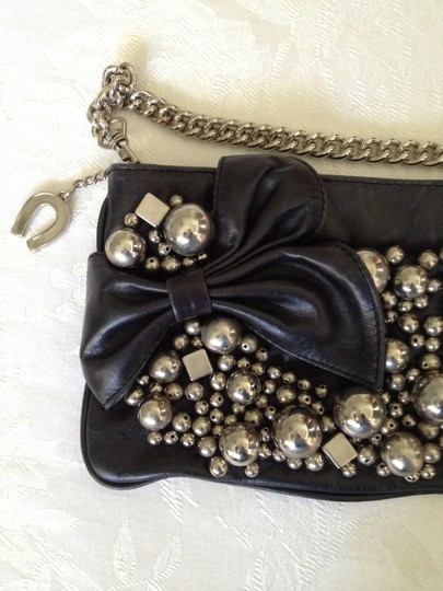 Betsey Johnson Nyc Greenwich Village Blondie Wristlet black with silver baubles and beads Clutch