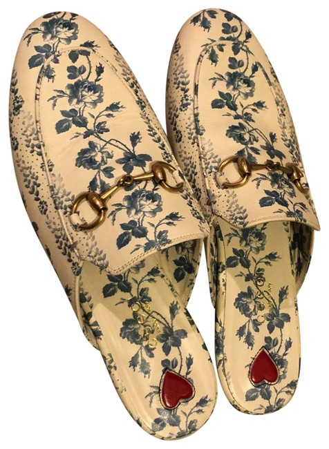 Item - White and Blue Princetown Gg Floral Slippers Mules/Slides Size EU 35 (Approx. US 5) Regular (M, B)