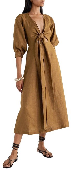 Item - Tobacco Asilah Tie-front Linen Midi Mid-length Cocktail Dress Size 6 (S)