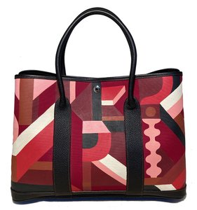 Item - Garden Party 35 Hand Painted Geometric Print Maroon Canvas Tote