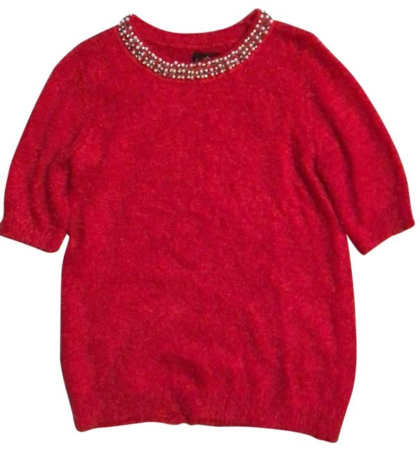 Item - Pearl and Rhinestone Fuzzy Red Sweater