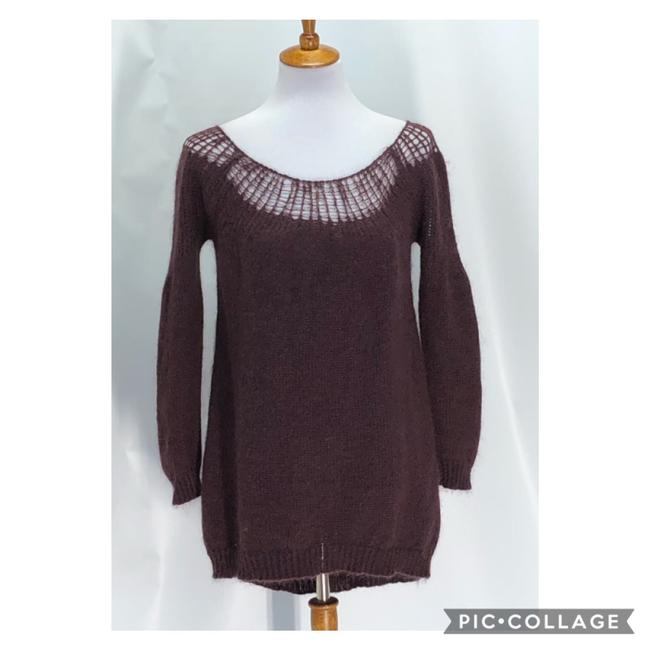 Item - Long Sleeve Mohair Tunic Maroon Sweater