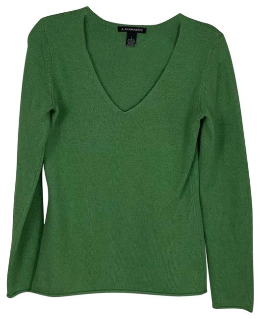 Item - V-neck Wool Blend Small Green Sweater