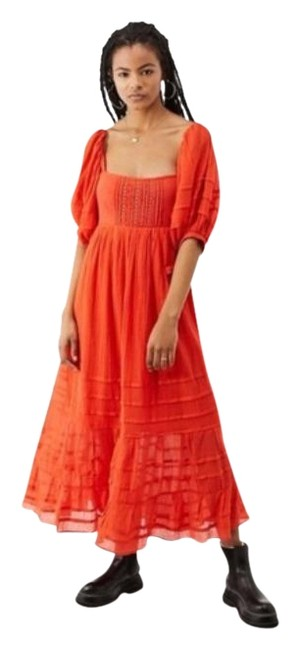 Item - Reddish Orange Lets Be Friends Midi Mid-length Casual Maxi Dress Size 8 (M)