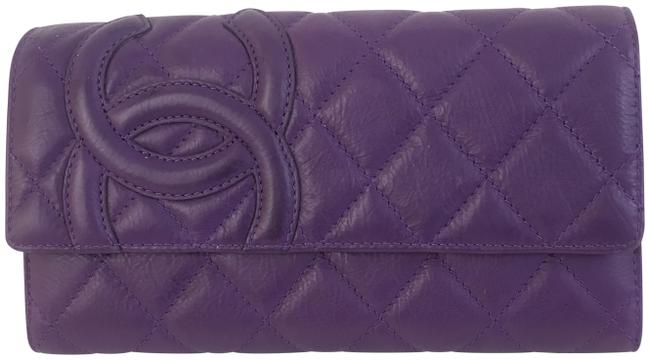Item - Purple Cambon Calfskin Quilted Tri-fold Wallet