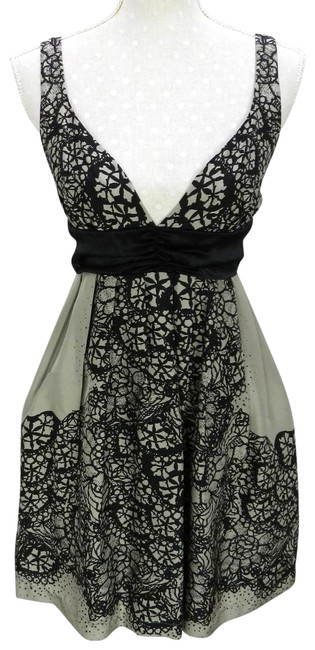 Item - Tan Taupe Silk Lace Pattern Short Cocktail Dress Size 4 (S)