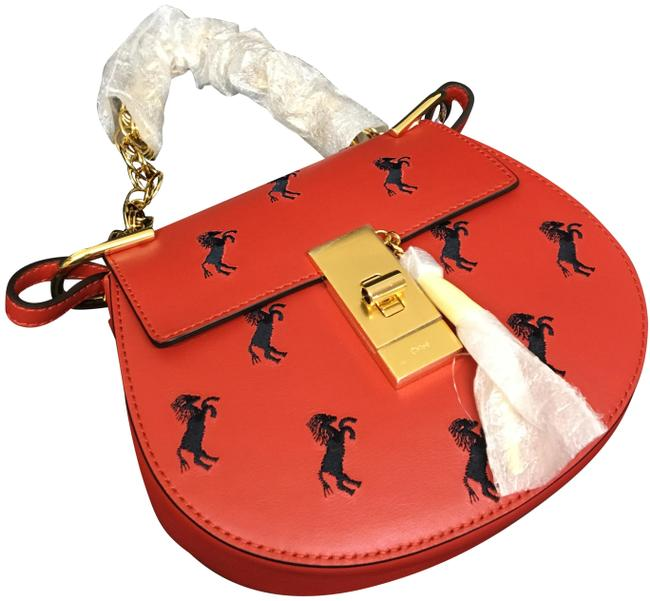 Item - Shoulder Drew Bijou Embroidered Horses Mini Earthy Red Leather Cross Body Bag