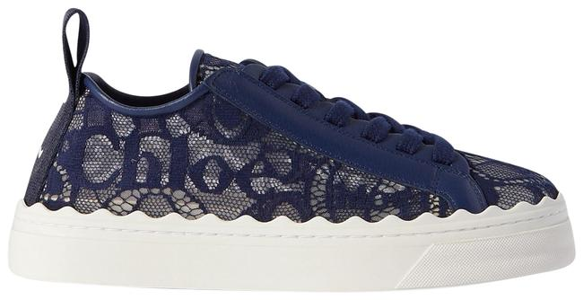 Item - Navy Lauren Scalloped Lace Leather and Canvas Sneakers Size EU 36 (Approx. US 6) Regular (M, B)