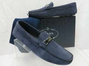 Prada Blue 2dd159 Navy Suede Logo Driving Moccasins Loafers 11 / Us 12 Italy Shoes