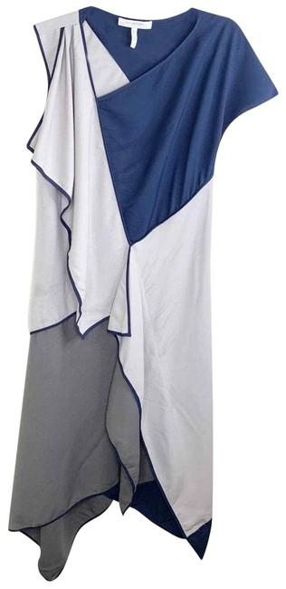Item - Gray Navy Colorblock Lagenlook Asymmetrical Mid-length Cocktail Dress Size 6 (S)