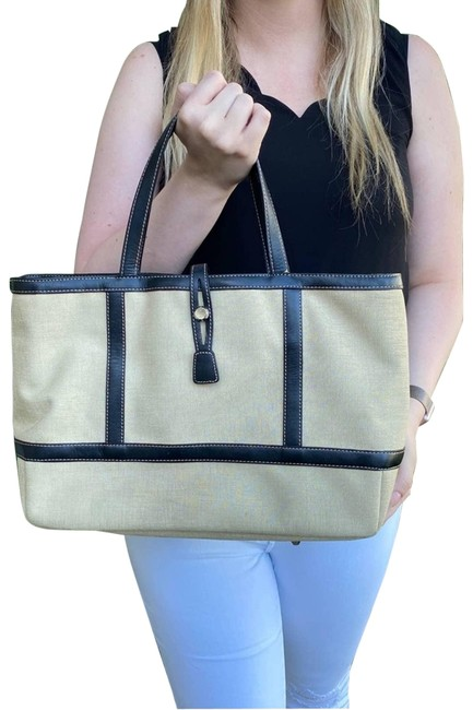 Item - Bag Canvas and Leather Cream Tote