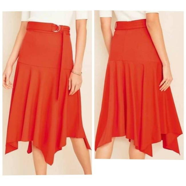 Item - Red Belted Handkerchief Assymetrical Skirt Size 12 (L, 32, 33)