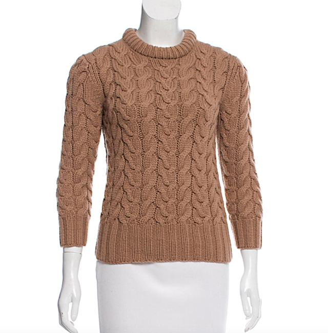 Item - Cable Knit Crew Neck Tan Sweater