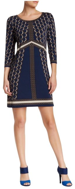 Item - Navy Blue and Cream Geo Paisley Print 3/4 Sleeve Scoop Neck A-line Mid-length Work/Office Dress Size 4 (S)