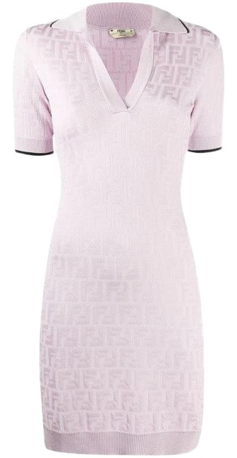Item - Lilac X Joshua Vides Ff-motif Knitted Short Night Out Dress Size 8 (M)