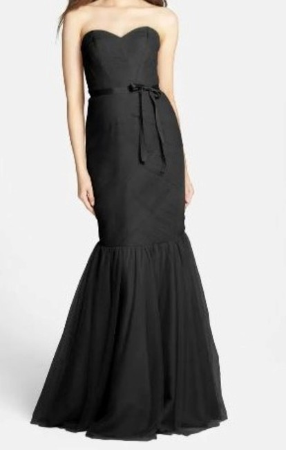 Item - Black Strapless Tulle Trumpet Formal Bridesmaid/Mob Dress Size 0 (XS)