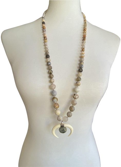 Item - African Opal New White Bone Crescent Pendant Long N Necklace