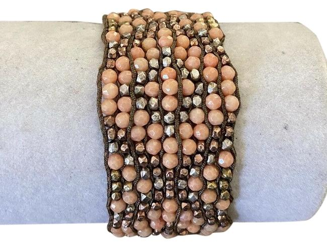 Chan Luu Salmon Coral New Mix Single Wrap Brown Leather Brac Bracelet Chan Luu Salmon Coral New Mix Single Wrap Brown Leather Brac Bracelet Image 1