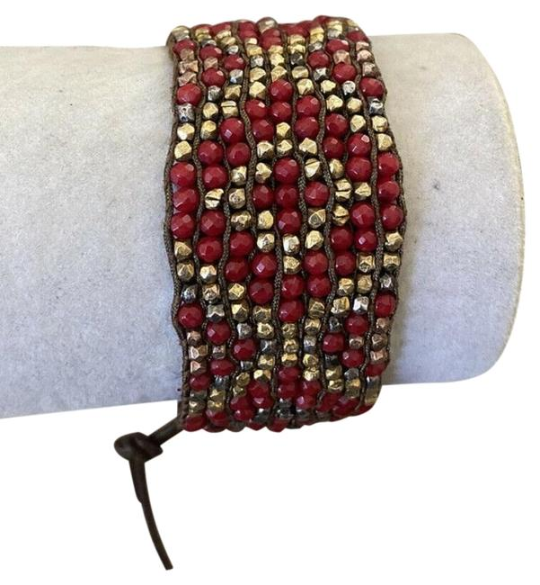 Item - Red L New Coral Mix Single Wrap Brown Leather Bracelet