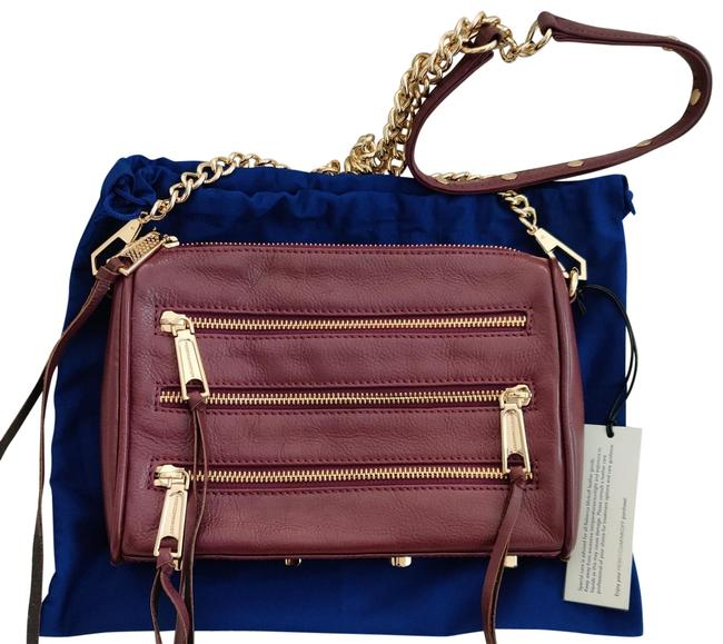 Item - Mini 5 Zip Bordeaux Leather Cross Body Bag