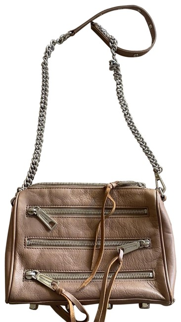 Item - Mini Mac Zipper Taupe with Silver Hardware Leather Cross Body Bag
