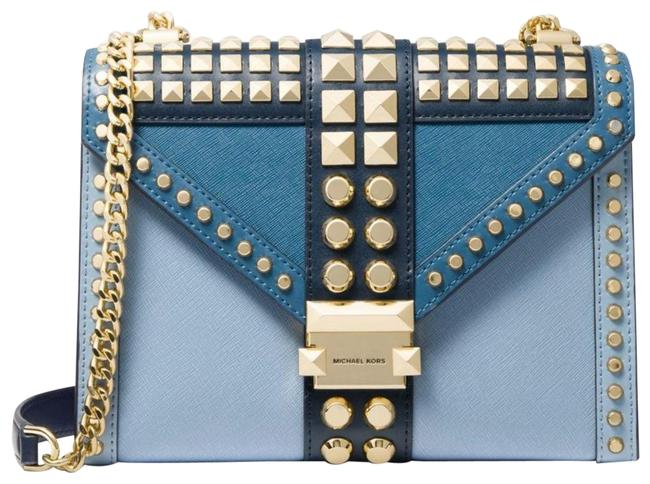 Item - Crossbody New Saffiano Two Tone Gold Studded Blue Leather Shoulder Bag