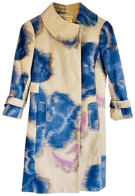 Item - Cream and Blue Watercolor Knit Car Coat Size 2 (XS)