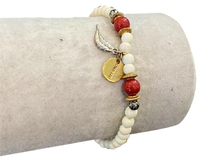 Item - Red & White New and Bone Mix Feather Charm Stretch Bracelet