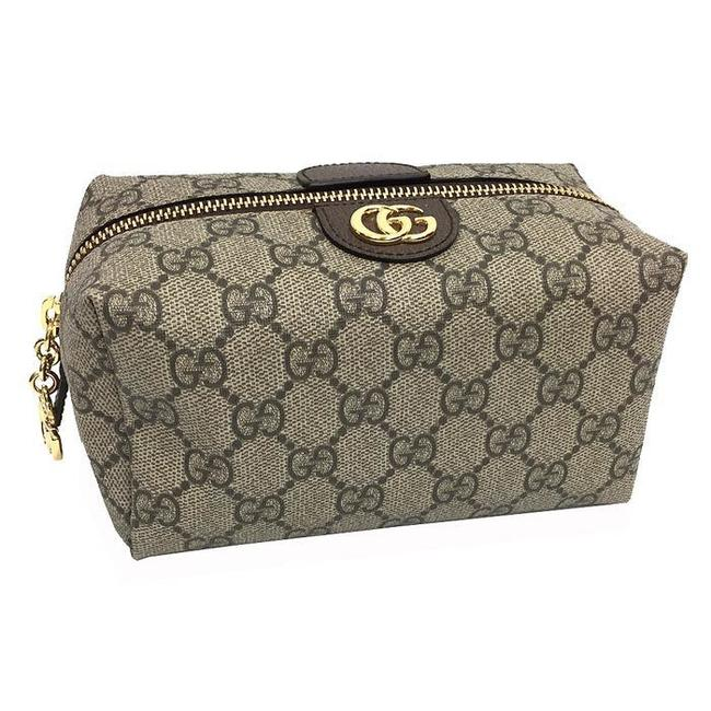Item - Cosmetic Case Small Offidia 548394 Makeup Pouch Pvc Leather Women's Men's Beige / Brown Gg Supreme Clutch
