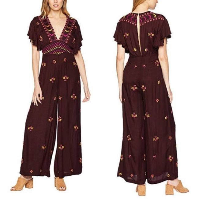 Item - Brown Red Cleo Embroidered Size 0 New Romper/Jumpsuit