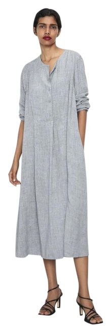 Item - Gray XS New Buttoned Oversized 4886/257 Long Casual Maxi Dress Size 2 (XS)