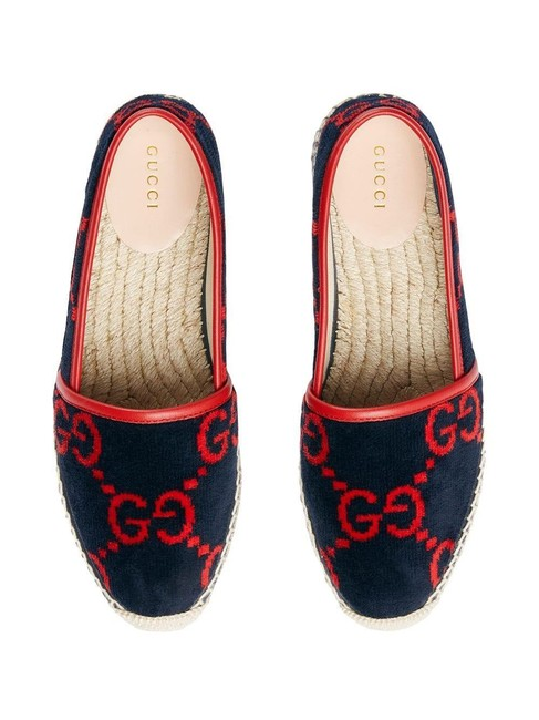 Item - Red and Blue Interlocking Logo Gg Terry Cloth Espadrille Flats Size EU 39 (Approx. US 9) Regular (M, B)