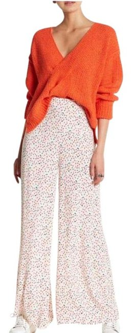 Free People White Red Easy Peasy Printed New Pants Size 8 (M, 29, 30) Free People White Red Easy Peasy Printed New Pants Size 8 (M, 29, 30) Image 1