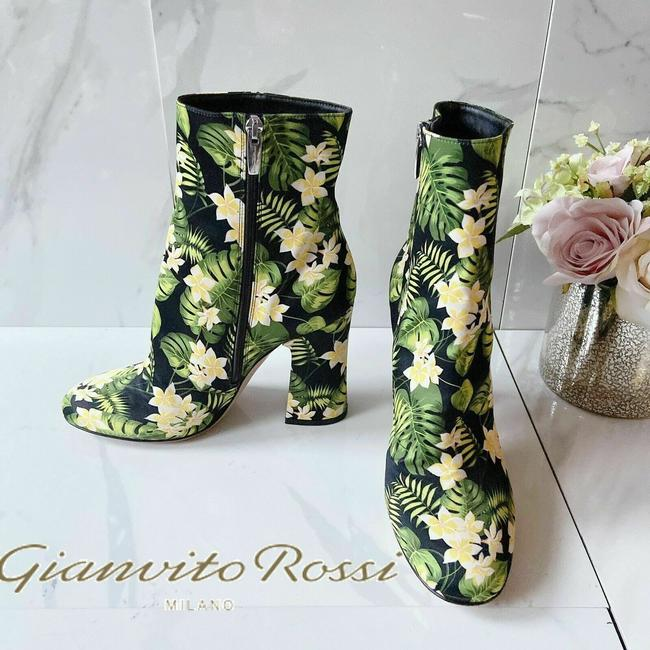 Item - Black Yellow Green Shelly Floral Print Heel Ankle Boots/Booties Size US 8 Regular (M, B)