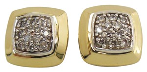 David Yurman David Yurman Sterling Silver 18K Gold .36tcw Pave Diamond Cushion Stud Earrings - Retail $1850