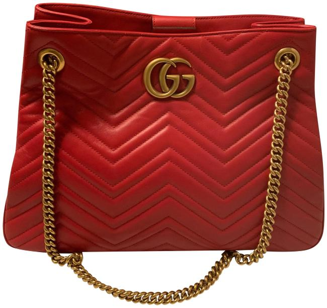 Item - Bag Marmont Gg Chevron Red Leather Tote