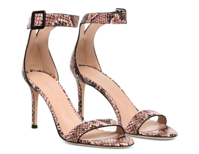 Item - Pink New Embossed Leather Ankle-strap Heeled Sandals Size EU 39 (Approx. US 9) Regular (M, B)