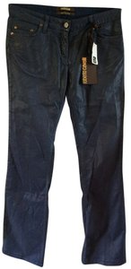 Roberto Cavalli Coated Metallic Denim Pants Boot Cut Jeans-Coated