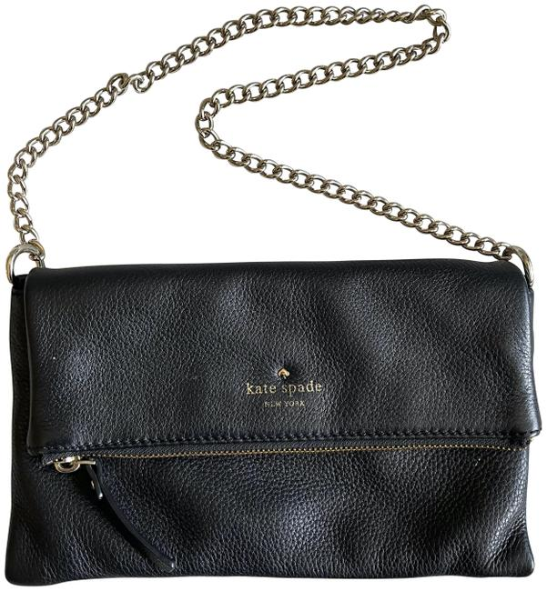Item - Foldover with Gold Chain Black Lambskin Leather Clutch